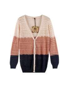 Apricot Vintage Ornamental Engraving Stripe Sweater