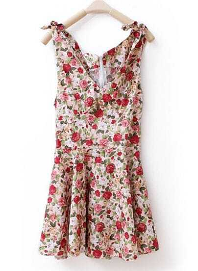 Vintage Floral Sleevelss V Neck Dress Pink