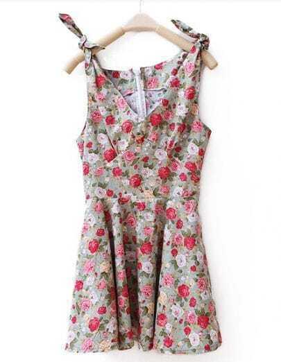 Vintage Floral Sleevelss V Neck Dress Green