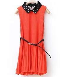 Solid Lapel Pleated Sleeveless Chiffon Dress Orange