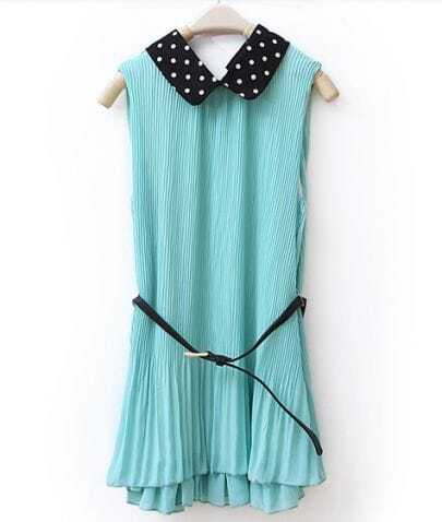Solid Lapel Pleated Sleeveless Chiffon Dress Green