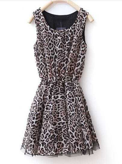 Leopard Round Neck Sleeveless Chiffon Dress