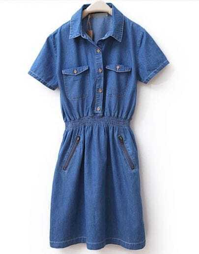 Lapel Short-sleeved Solid Denim Dress