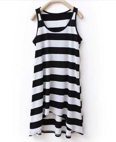 Striped Round Neck Sleeveless Asymmetrical Dress Black