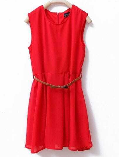 Round Neck Sleeveless Solid Chiffon Dress Red