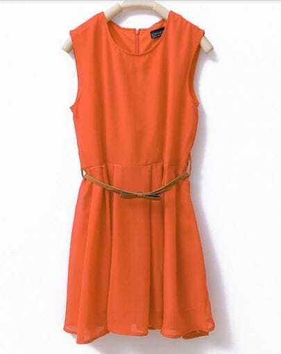 Plain Orange Round Neck Sleeveless Chiffon Dress