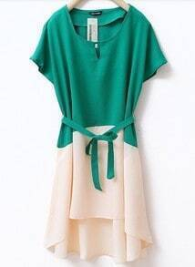 Bow Stiching Chiffon Short-sleeved Dress Green
