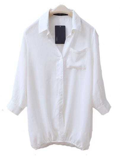 Pocket Lapel Soild Straight Loose Shirt White