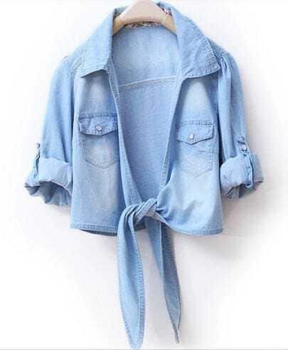Lapel Long-sleeved Solid Short Denim Shirt
