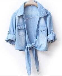Lapel Long-sleeved Solid Short Denim Shirt