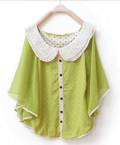 Lapel Bat-sleeved Solid Cape Chiffon Shirt Light Green