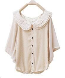 Lapel Bat-sleeved Solid Cape Chiffon Shirt Beige