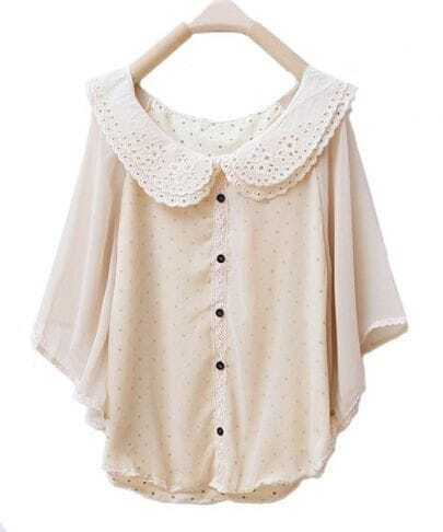 Lapel Bat-sleeved Solid Cape Chiffon Shirt Beige