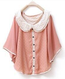 Lapel Bat-sleeved Solid Cape Chiffon Shirt Pink