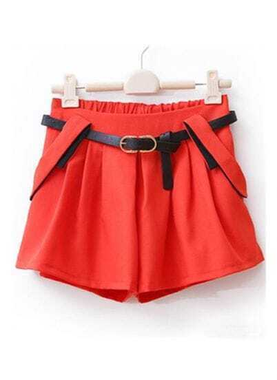Red Loose Mid Waist Pleated Shorts Pant