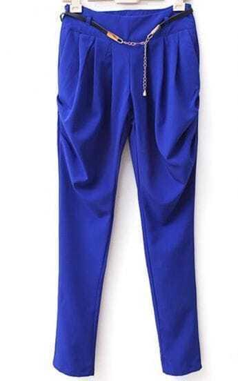 Blue Shitsuke Mid Waist Harem Pant