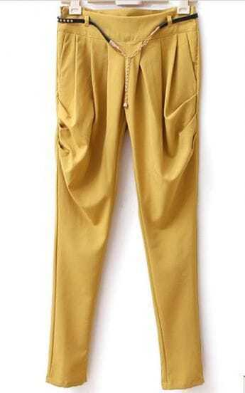 Yellow Shitsuke Mid Waist Harem Pant