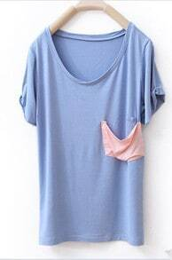 Blue Scoop Neck Short Sleeve Contrast Neck T-shirt