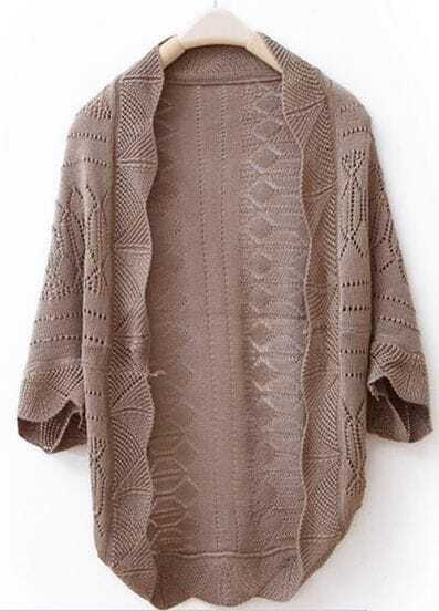 Brown Weave Piercing Wraps Bat-wing Sleeve Sweater