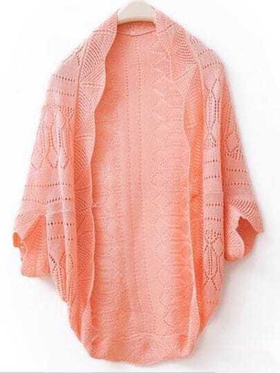 Pink Weave Piercing Wraps Bat-wing Sleeve Sweater