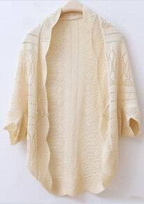 Beige Weave Piercing Wraps Bat-wing Sleeve Sweater