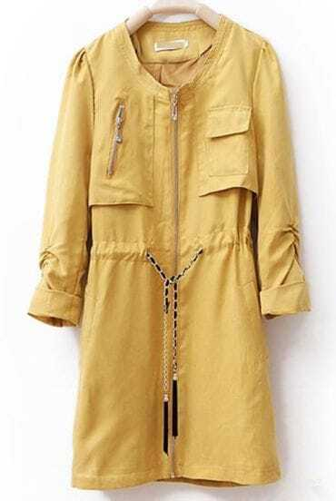 Yellow Round Drawstring Waist Outerwear