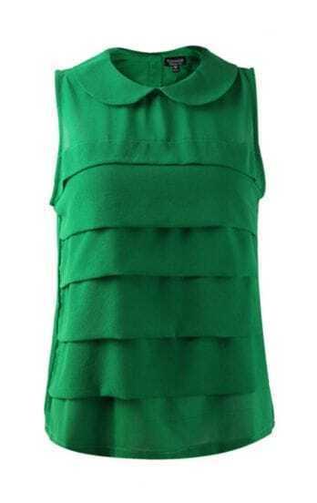 Green Vintage Lapel Chiffon Tank Shirt