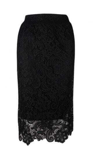 Black Piercing Patchwork Vintage Skirt