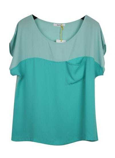 Green Batwing Sleeve Scoop Neck T-shirt With Pocket