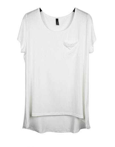 White Short Sleeve Dipped Hem T-shirt with Pocket Detail