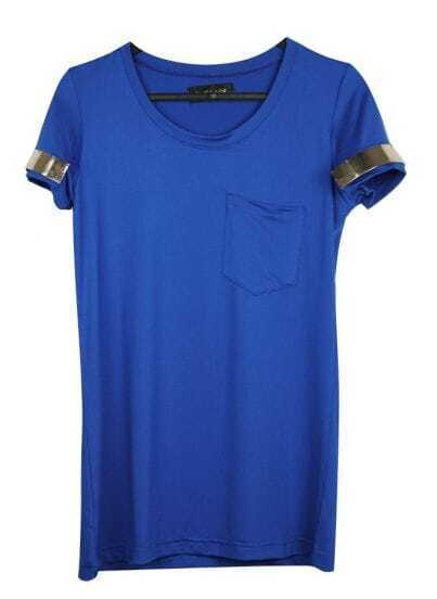 Blue Front Pocket Slim T-shirt with Metal Short Sleeve