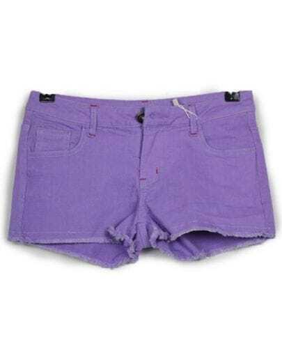 Vintage Candy Color Low-waist Shorts Purple