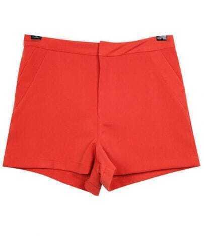 High-waist Vintage Candy Color Cotton Shorts Orange