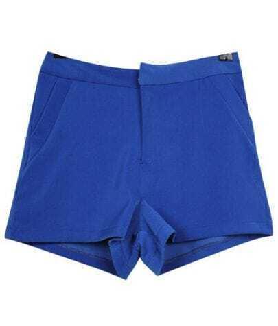 High-waist Vintage Candy Color Cotton Shorts Blue