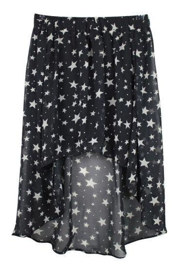 Vintage Star Printing Chiffon Asymmetrical Skirt