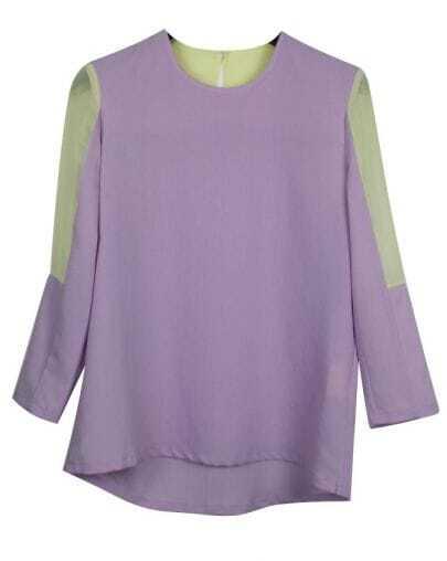 Vintage Candy Color Three Quarters Sleeve Chiffon Shirt Purple