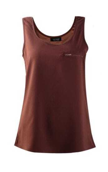 Coffee Zipper Embellished Pocket Tank Vest