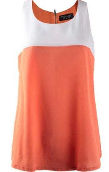 White-orange Tunic Tank Vest with Zipper Back