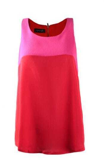 Pink Red Tunic Tank Vest with Zipper Back