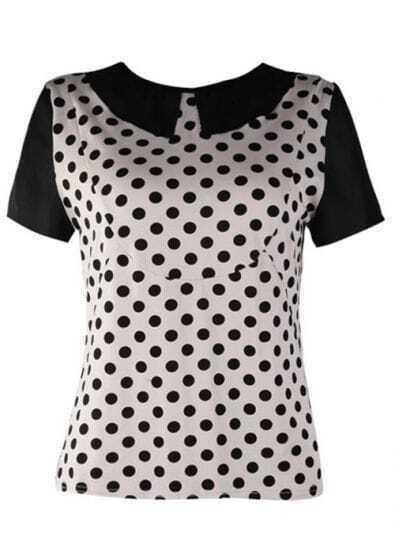 White Vintage Dot Print Lapel T-shirt