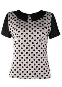 White Vintage Dot Print Lapel T-shirt
