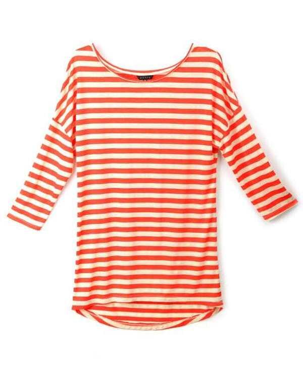 Orange White Striped Round Neck Slim T-shirt -SheIn(Sheinside)