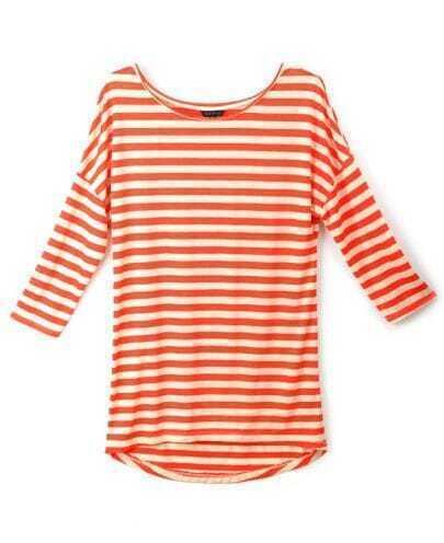 Orange White Striped Round Neck Slim T-shirt