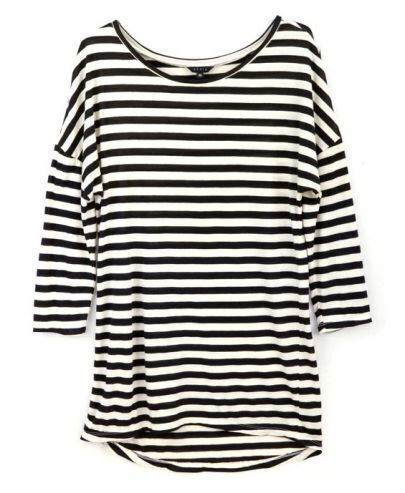 Black White Striped Round Neck Slim T-shirt