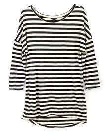 Black White Striped Round Neck Slim T-shirt