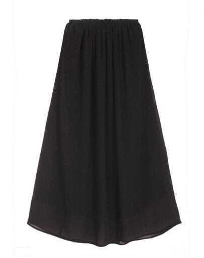 All-match Solid Waist Chiffon Skirt Black