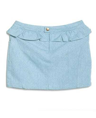 Ruffle Mid-waist A-line Solid Skirt Light Blue