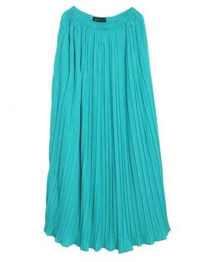 Solid Waist Pleated Long Skirt