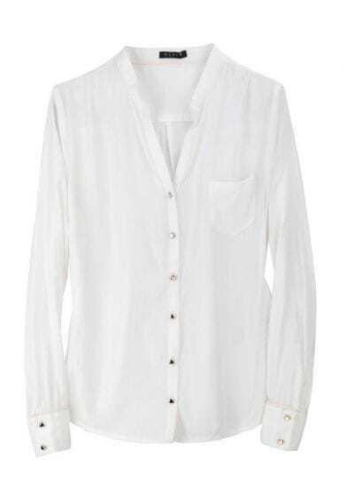 Vintage Solid Long-sleeved V Neck Shirt