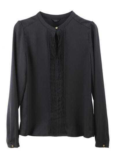 Round Neck Long-sleeved Slim Shirt